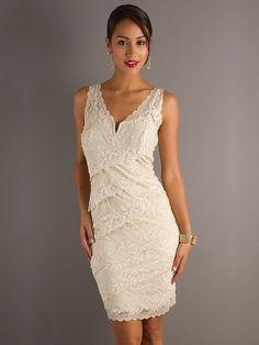 Ivory Corset V-neck Short/Mini Prom Dress With Lace Lace PD0B02