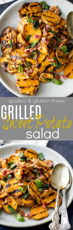 GRILLED SWEET POTATO SALAD with crispy bacon, grilled scallions and a tangy honey mustard dressing. This Potato Salad is so flavorful, easy to make, gluten free, paleo and the perfect side dish to bring this summer!