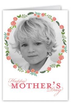 Floral Frame Mother's Day Card, Square Corners, White