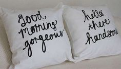 Cutesy Lovable Couple Cushions - This 'His and Her' Couple Pillow Set is a Great Wedding Gift Idea