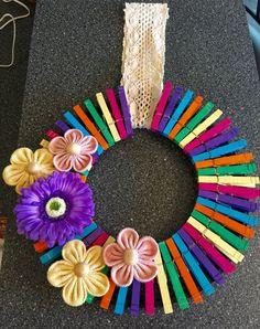 Summer Clothespin Wreath                                                                                                                                                      More