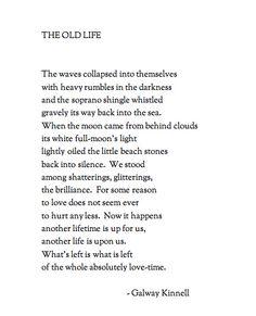 ¤ Poet Ponderings ¤ poetry, quotes haiku - The Old Life | Galway Kinnell