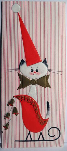 Siamese Cat in The Sleigh Vintage Christmas Card