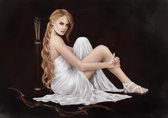 Artemida - dziewicza bogini łowów [wielka łowczyni], zwierząt, lasów, gór, roślinności, płodności, księżyca i śmierci; niosąca pomoc rodzącym kobietom