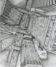 Pencil Drawing of a cityscape from above