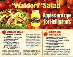 Hellman`s Waldorf Salad and Shrimp & Apple Salad recipes Retro Recipes, Old Recipes, Vintage Recipes, Cookbook Recipes, Low Carb Recipes, Cooking Recipes, Apple Recipes, Recipies, Salad Bar