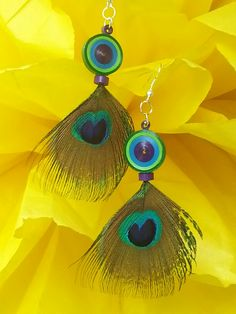 Peacock feather paper quilled earrings