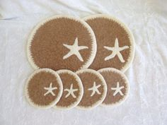 Wool Felted Coasters and Two matching Trivets with by Susietoos
