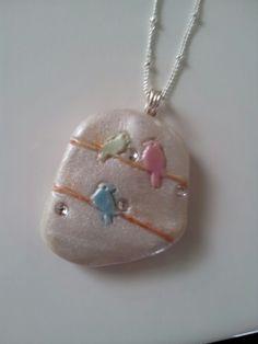 Polymer clay bird pendant by Bhavna Mistry