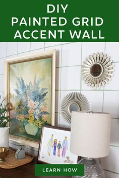 Painting your own accent wall is such a great way to add personality to your home! It's easy to paint a DIY accent wall and it doesn't cost much money at all. This painted grid accent wall is quirky and cute. Farm House Colors, Green Craft, Benjamin Moore Colors, Accent Wall Bedroom, Easy Paintings, Learn To Paint, Decorating Blogs, Diy Painting, Decoration