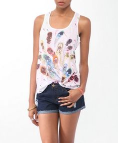 Rhinestoned Feather Print Racerback Tank | FOREVER21 - 2000046992