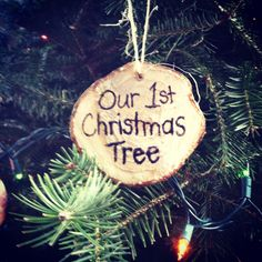 Just did this! Great tradition!   Ornament from Christmas tree stump for 1st tree in new home.