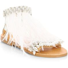Elina Linardaki Mon Cherie Feather Sandals (183.085 CLP) ❤ liked on Polyvore featuring shoes, sandals, open toe leather sandals, real leather shoes, open toe shoes, elina linardaki sandals and beaded shoes