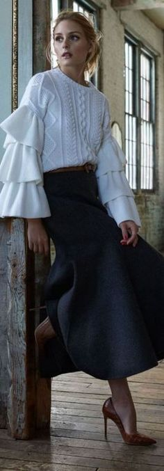 Who made  Olivia Palermo's gray skirt, brown belt, and white cable knit sweater?