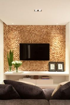 Joinery panel in amendola wood mosaic is the center of attention of this TV room. Contemporary and cozy decor. Renovation and interior design project for an apartment in Pompeia, São Paulo. Joinery panel in amendola wood mosaic is the c Tv Wall Design, Design Case, House Design, Living Room Designs, Living Room Decor, Home Theater Design, Living Room Remodel, Home Living, Family Room