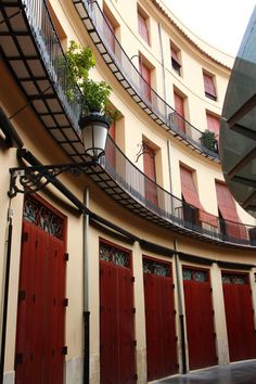 Circular courtyard in Old Town. Former market stalls, now often used for live music venues Valencia, Spain