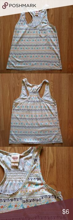 """Floral racer back tank Cream tank with floral stripes. Racerback. 60/40 cotton, modal. Size small. 24""""L. 15.5"""" bust laying flat. In excellent condition. Mossimo Supply Co. Tops Tank Tops"""