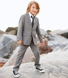 Slate gray suit for the ring bearer by Chasing Fireflies! Love the Chuck Taylors! Graduation Tuxedos, Ring Bearer Suit, Wedding Page Boys, Chasing Fireflies, Little Gentleman, Boys Suits, Rings For Girls, Color Azul, Wedding Suits