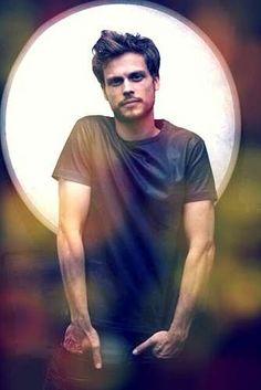 Matthew Grey Gubler in Black Satin T-Shirt