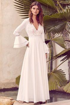 1db8f85f69c long sleeve White chiffon dress white Maxi Dress door DressOriginal ...