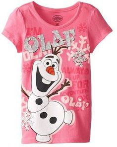 Disney Little Girls' Frozen Olaf Snowflake Tee, Pink, Olaf short sleeve tee. Disney Gift, Disney Fun, Disney Olaf, Disney Tops, Disney Stuff, Olaf Frozen, Disney Frozen, Frozen Outfits, Frozen Clothes