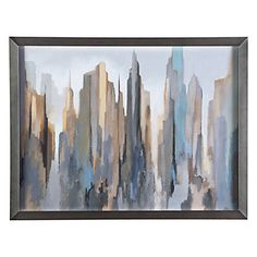 Cast in tonal hues of blue, cream and grey, Midtown Skyline artistically captures the energy on New York City.
