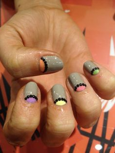 don't like the base color (not a fan of using a lot of gray on nails), but love the idea of combining moon mani w/rhinestones