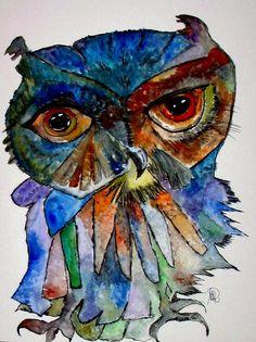 Eule - Original von *zeitgenössische kunst von maria-mercedes* auf DaWanda.com