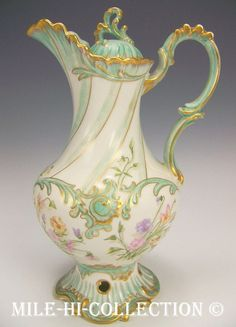 Limoges France Hand Painted Flowers Chocolate Pot Lovely Molding