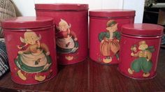 Complete Set of 4 Red Metal Tin Canisters With by Midcenturyorbust