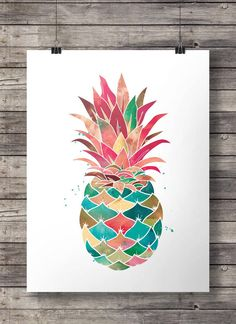 Aquarell Ananas Printable Wandkunst von SouthPacific auf Etsy