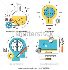 Flat Line Vector Set. Technologies and Innovations, Idea and Brainstorm…