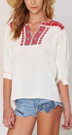 riley embroidered blouse
