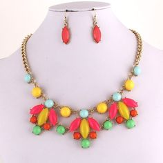Candy Neon Necklace/Earrings Set