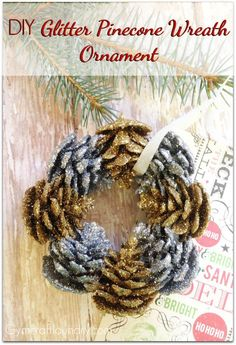 15 Dollar Store Christmas Crafts- You can decorate your home for Christmas even if you're on a tight budget! Check out these 15 frugal dollar store Christmas crafts! Homemade Christmas Decorations, Christmas Ornament Crafts, Handmade Christmas, Christmas Wreaths, Christmas Ideas, Holiday Crafts, Christmas Christmas, Christmas Recipes, Pinecone Ornaments