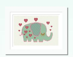 Cross Stitch #Pattern PDF Baby #Elephant Love, #Nursery Set 5 Counted Cross Stitc,  View more on the LINK: http://www.zeppy.io/product/gb/3/157263560/