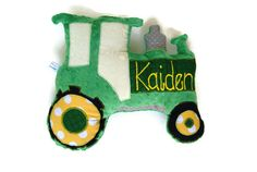 Tractor Pillow, Personalized, Custom PlushTractor Pillow, Farm Themed Baby Nursery, Baby Shower Gift, Custom MADE TO ORDER on Etsy, $30.00