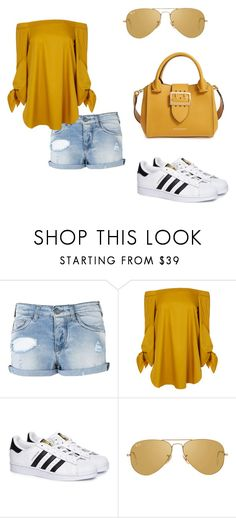 """""""Sun and beach"""" by nenzie ❤ liked on Polyvore featuring Armani Jeans, TIBI, adidas, Ray-Ban and Burberry"""