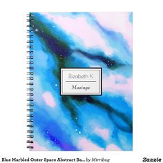 Blue Marbled Outer Space Abstract Background Spiral Notebook