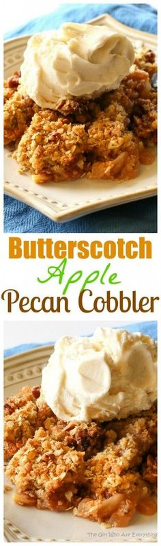 Butterscotch Apple Pecan Cobbler - this is divine!! A nice twist on your classic apple cobbler and the butterscotch gives it a little special something. the-girl-who-ate-everything.com
