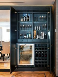Top 70 Best Home Mini Bar Ideas - Cool Beverage Storage Spots : Wine Storage Mini Bar Ideas Home Bar Rooms, Diy Home Bar, Modern Home Bar, Bars For Home, Mini Bar At Home, Home Wine Bar, Armoire Bar, Home Bar Cabinet, Bar Cabinets For Home