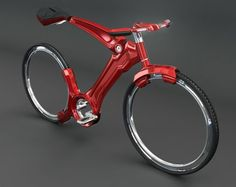 Looks weird, but I like it!  Futurist bicycle with hubless wheels looks gorgeous
