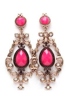 Raspberry Nora Statement Earrings