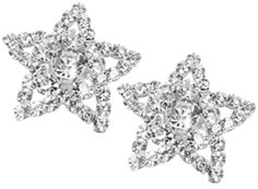These bridal shoe clips are perfect to make your wedding shoes sparkle. They clip directly onto your fancy shoes, clip comes apart for easy application. Rhinestone Shoe Clips are 1 and 1/4 inches (32mm) diameter. Large center rhinestone is 8 mm (5/16 inch) diameter with a circle of five 5mm (just under 1/4 inch) diameter rhinestones. The star is made up of several 3.5mm (just under 5/32 inch) diameter rhinestones. Crystal Clear Rhinestones are in a silver plated setting. Shoes not included.