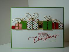 Merry Christmas Gifts (Simon Says Stamps Brilliant Gifts exclusive die; Clearly Besotted's Ornamental Style sentiment)