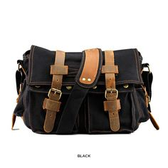 Unisex Vintage Canvas   Genuine Leather Messenger Bag - Assorted Colors 0c06df6066