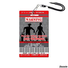 Zombie Birthday Invitations - Plastic VIP Pass