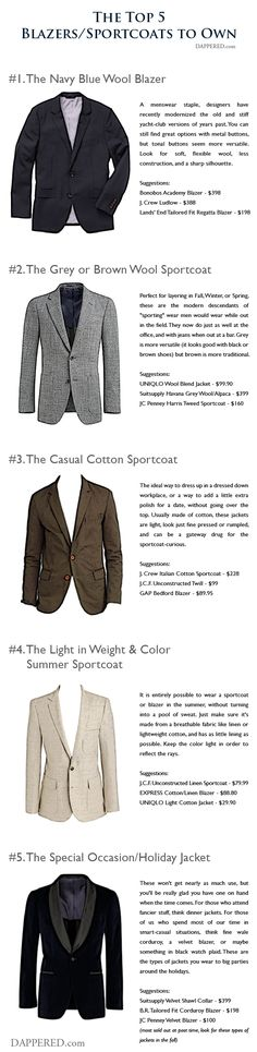 The Top 5 Types of Blazers / Sportcoats to Own | Dappered.com #men #fashion #StyleForGuys