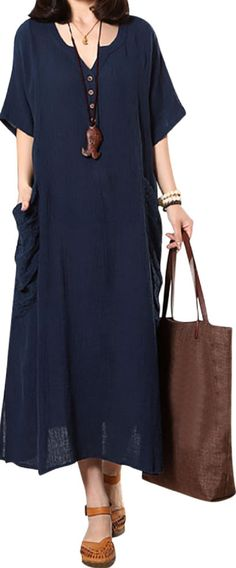 US$ 21.68 O-Newe Casual Embroidered Pockets Split Hem Button Maxi Dress