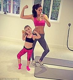 Like mother, like daughter! Luisa Zissman and mini-me Dixie, five, strike identical poses in matching workout gear after session at home gym  .